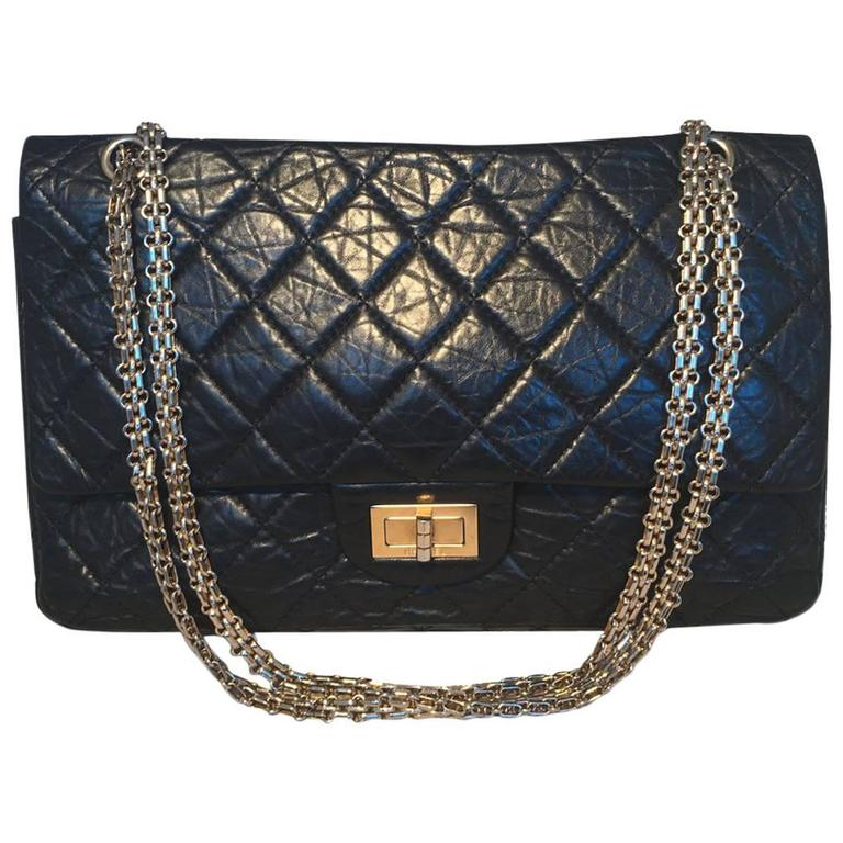 2a6877848a04 Chanel Black Distressed Leather 2.55 Reissue 227 Jumbo Classic Double Flap  For Sale