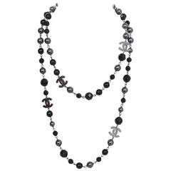 Chanel Black and Grey Beaded CC Necklace with Box