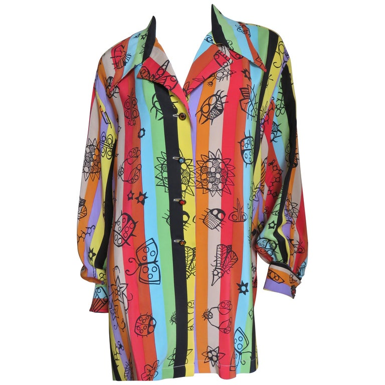Todd Oldham 1980s Insect Pattern Silk Shirt