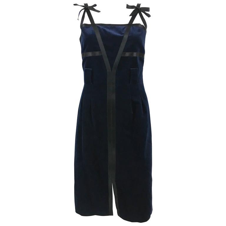 Chanel 2007 Runway Midnight Blue Velvet Cocktail Dress 1