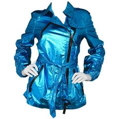 Burberry Sport Metallic Blue Trench Coat sz US6