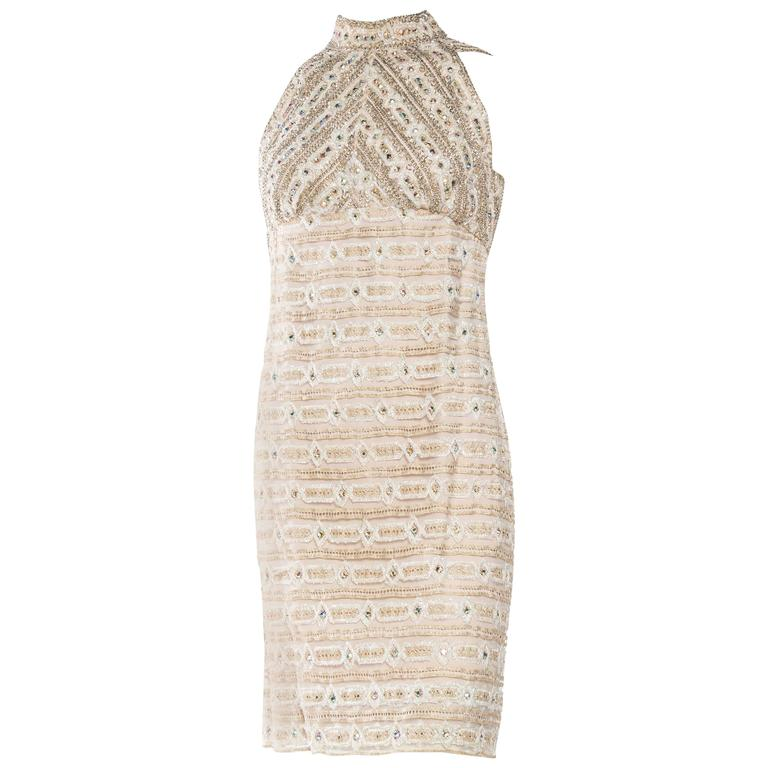 1960s Crystal Encrusted Gold Lace Dress For Sale