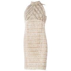 1960S White Metallic Rayon & Lurex Lace Crystal Encrusted Cocktail Dress
