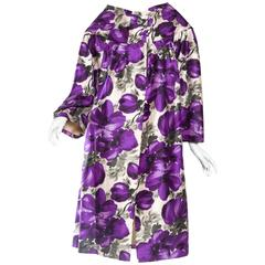 Gorgeous Floral Printed Silk Lightweight Coat from the 1950s
