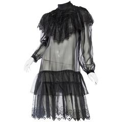 1970s Gucci Style Silk Organza Victorian Inspired Sheer Lace Dress