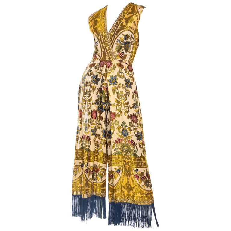 Fabulous 1960s Middle Eastern Textile Jumpsuit with Fringe