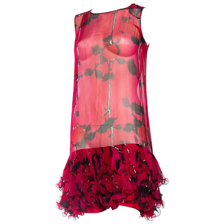 Fabulous Sheer 1960s Silk Ruffled Summer Cocktail Dress