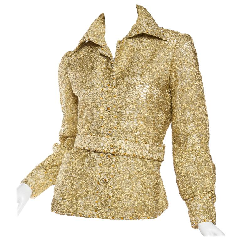 Fantastic 1970s Dynasty Gold Lace Blouse with Crystals and Matching Belt