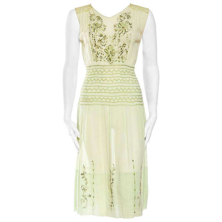 1920s-1940s Sheer Cotton Floral Embroidered Boho Folk Dress