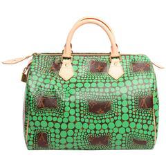 Louis Vuitton Limited Edition Green Yayoi Kusama Speedy 30 Satchel