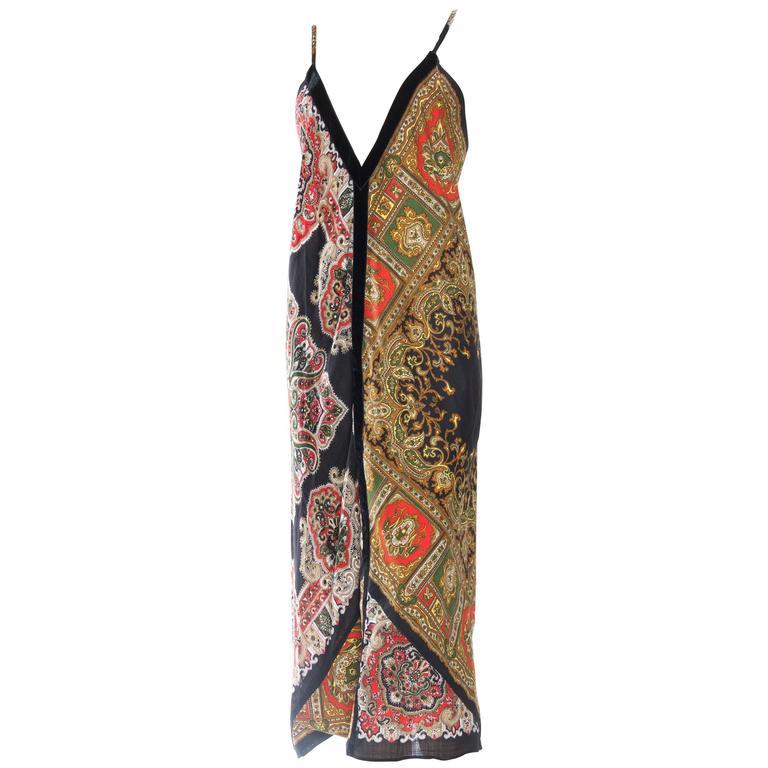 Vintage Bias Paisley Boho Scarf Dress For