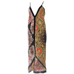 Vintage Bias Paisley Boho Scarf Dress