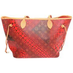 Louis Vuitton Red Monogram Yayoi Kusama Neverfull MM Tote