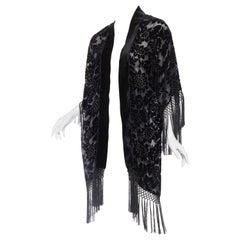 MORPHEW COLLECTION Black Floral Silk Burnout Velvet Sheer Fringed  Kimono