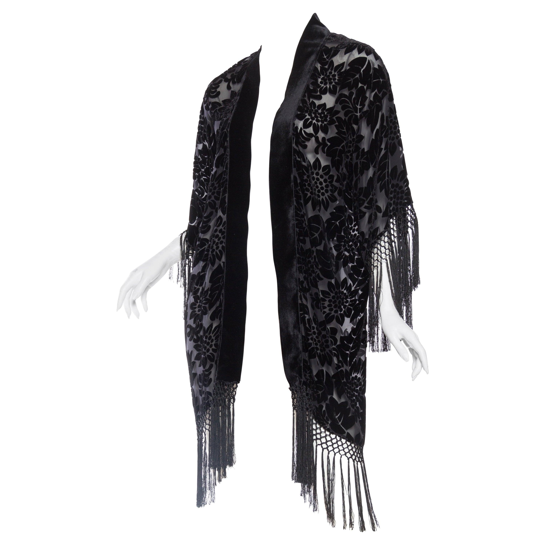 0b7028eaa Sheer Velvet Burnout Fringed Kimono For Sale at 1stdibs
