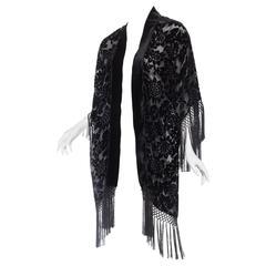 Sheer Velvet Burnout Fringed Kimono