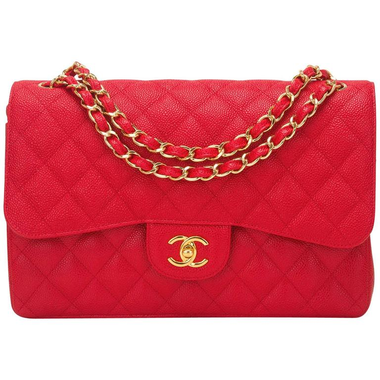 Chanel Red Quilted Caviar Jumbo Classic Double Flap Bag For Sale