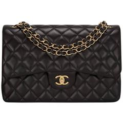 Chanel Black Quilted Lambskin Jumbo Classic Double Flap Bag