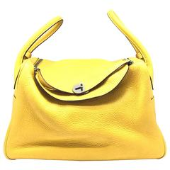 Hermes Lindy 34 Soleil Yellow Clemence Leather Shoulder Bag