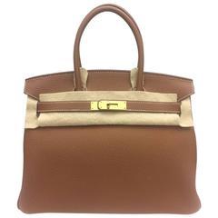 Brand New Hermes Birkin 30 Togo Gold GHW