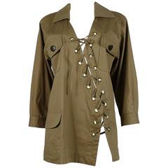 Yves Saint Laurent YSL Vintage 1990 Cotton Safari Tunic with Asymmetric Lacing