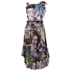 Jean Paul Gaultier Baroque Floral Print Mesh Top and Skirt Ensemble Size S