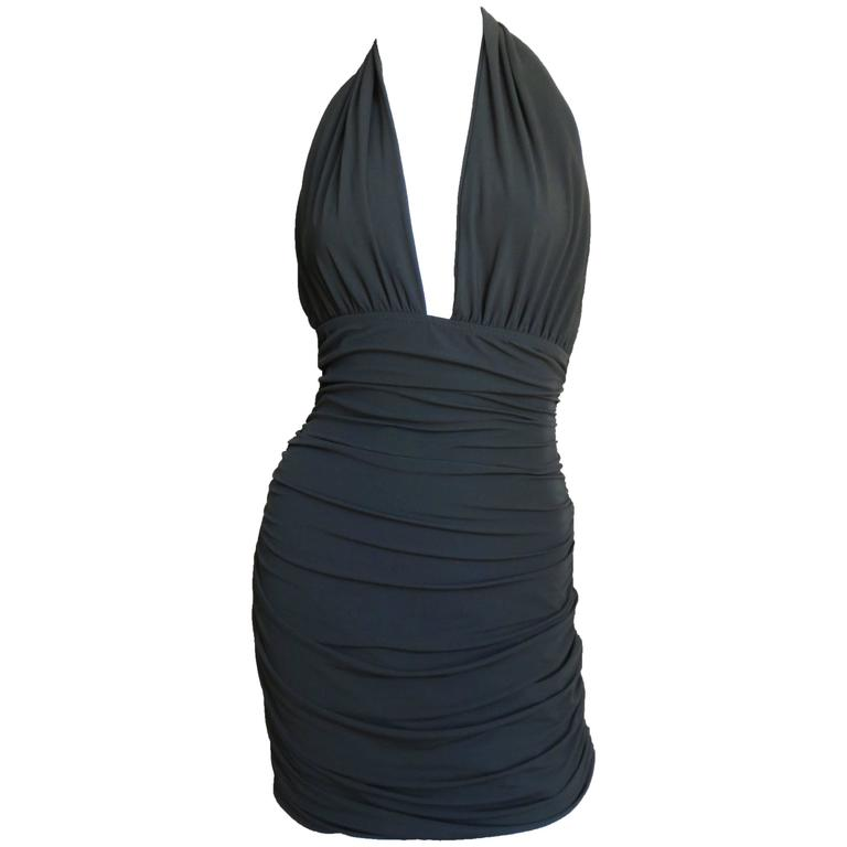 1980s Norma Kamali Plunge Halter Dress