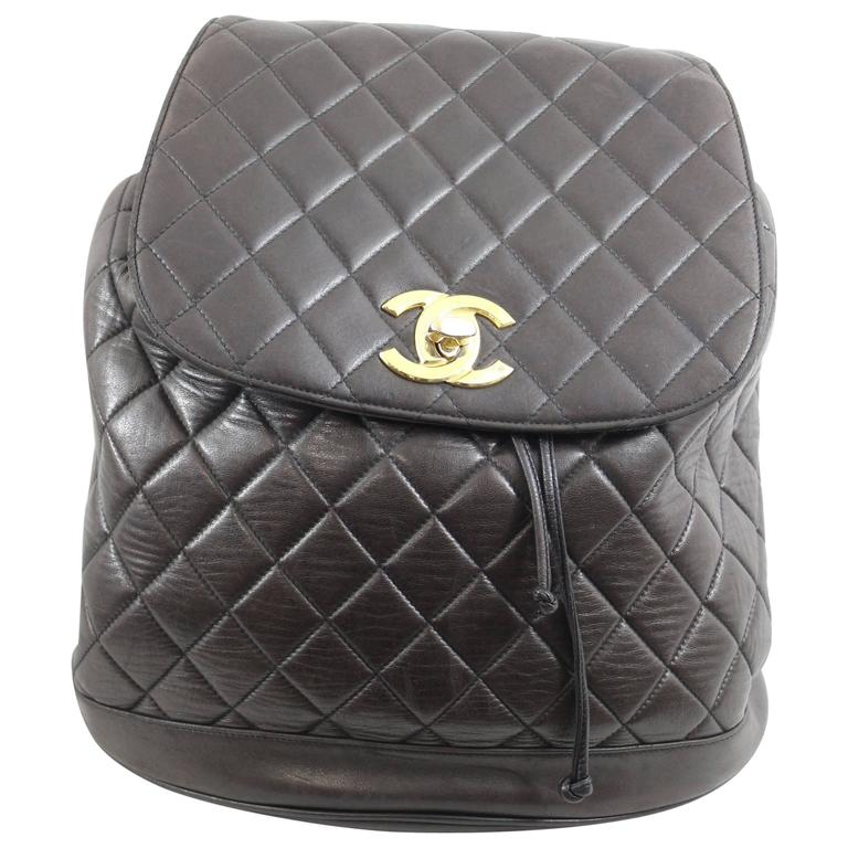 Chanel Vintage Brown leather Backpack 1