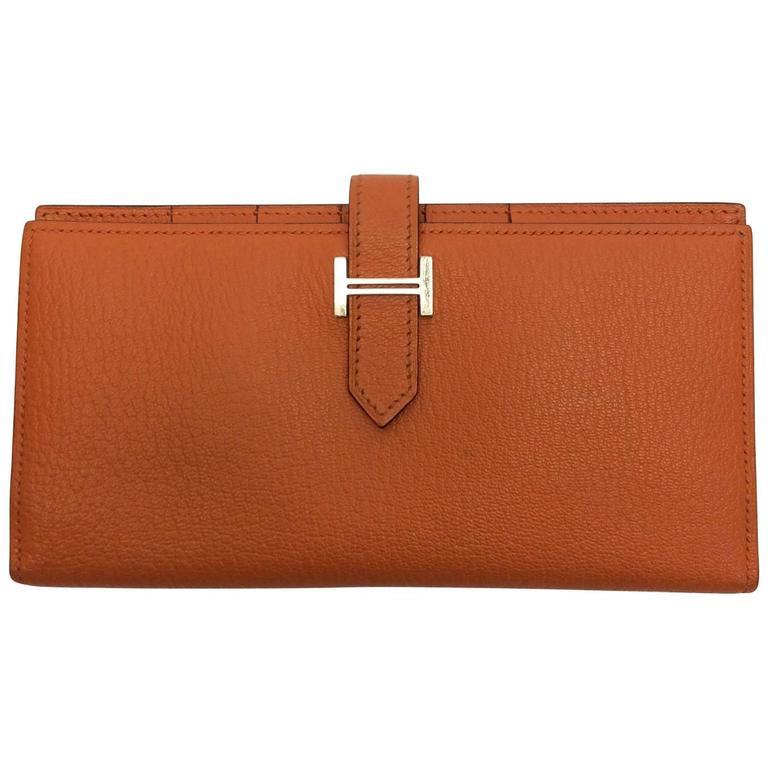 hermes orange bearn bifold wallet for sale at 1stdibs