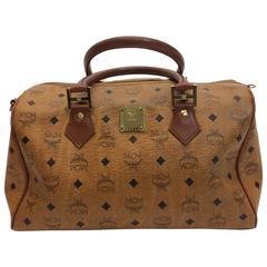 MCM Cognac Logo Zipper Duffle Bag