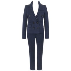 GUCCI Pre-Fall 2014 2 Pc Dark Blue Linen Blend Double Breasted Jacket Pants Suit