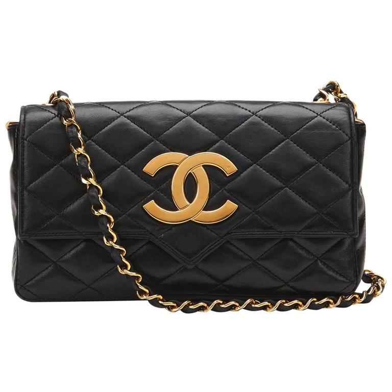 40c459555a31 1980s Chanel Black Quilted Lambskin Vintage Single Flap Bag at 1stdibs