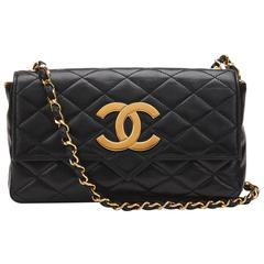 1980s Chanel Black Quilted Lambskin Vintage Single Flap Bag