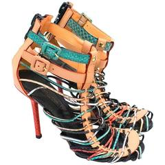Louis Vuitton Snakeskin Multicoloured Strappy Sandals