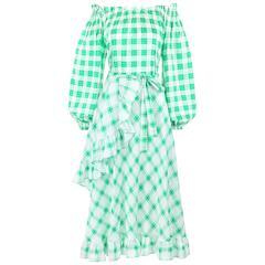 YVES SAINT LAURENT S/S 1978 YSL 2 Pc Green Plaid Peasant Blouse Wrap Skirt Set