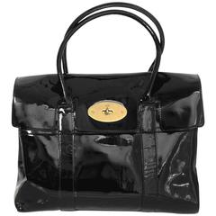 Mulberry Black Patent Leather Bayswater Tote Bag