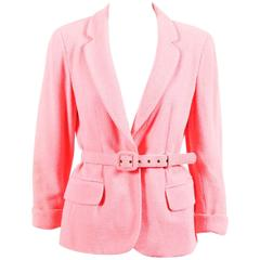 Moschino Couture Neon Pink Wool Boucle Belted Blazer Jacket