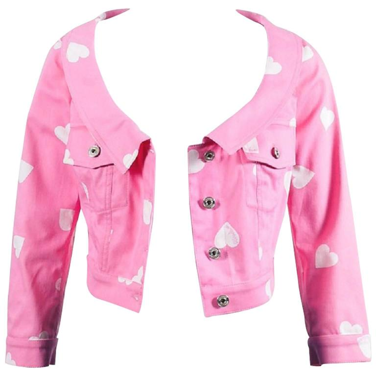 Moschino Couture Pink and White Heart Print Cropped Jacket 1