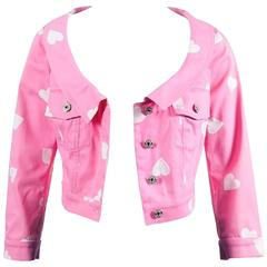 Moschino Couture Pink and White Heart Print Cropped Jacket