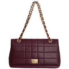 Chanel Burgundy Caviar Leather Square Quilted Flap Bag