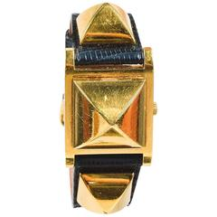"Vintage Hermes Black Lizard Leather Gold Plated Steel ""Medor"" Studded Watch"