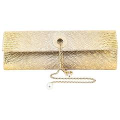 Chanel Metallic Gold Genuine Lizard Pearl Keychain Front Flap Clutch Bag