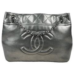 "Chanel Metallic Silver & Black Leather Quilted ""Timeless Soft Shopping Tote"" Bag"