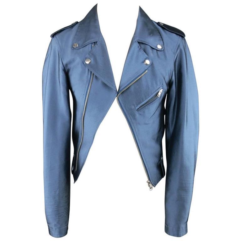 Y-3 Yohji Yamamoto Size M Metallic Blue Open Biker Motorcycle Style Jacket 1