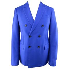 Men's JIL SANDER 36 Short Royal Blue Double Breasted Peak Lapel Sport Coat