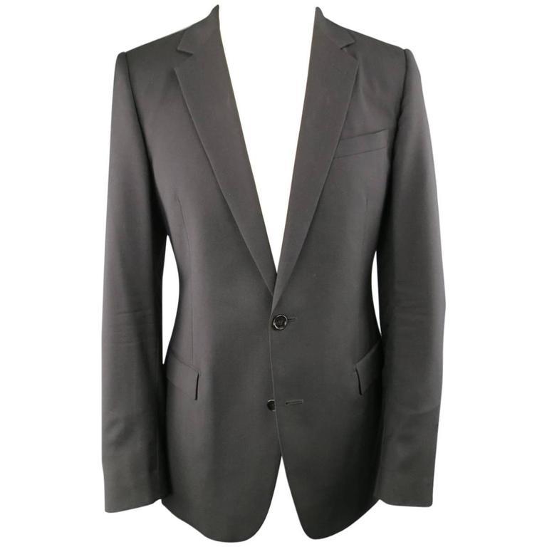 DIOR HOMME 40 Regular Black Wool Notch Lapel 2 Button Sport Coat For Sale