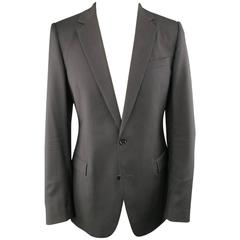 DIOR HOMME 40 Regular Black Wool Notch Lapel 2 Button Sport Coat