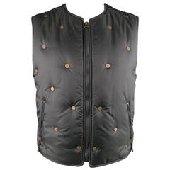 MOSCHINO JEANS 42 Black & Gold Peace Sign Studded Puffer Vest