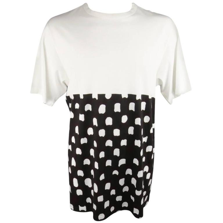 MARNI Size M White Burgundy Polka Dot Print Block Extended T-shirt 1