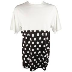 MARNI Size M White Burgundy Polka Dot Print Block Extended T-shirt